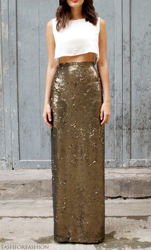 gold sequin maxi skirt w/ crop top