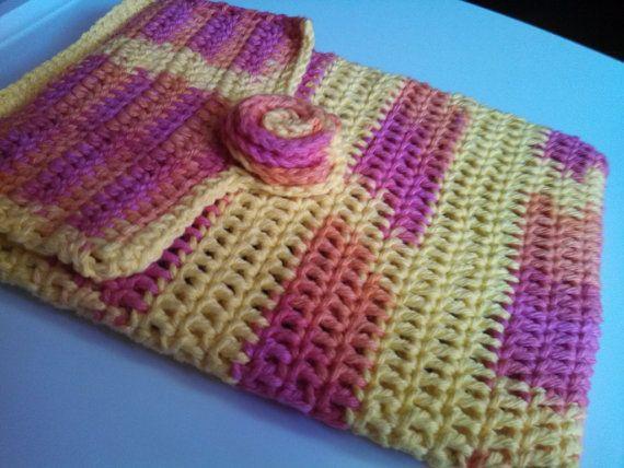 Crochet iPad Cozy - Handmade Crochet Cotton iPad Case - Rose Button Closure - Pink & Yellow - iPad and iPad 2 on Etsy, $15.00