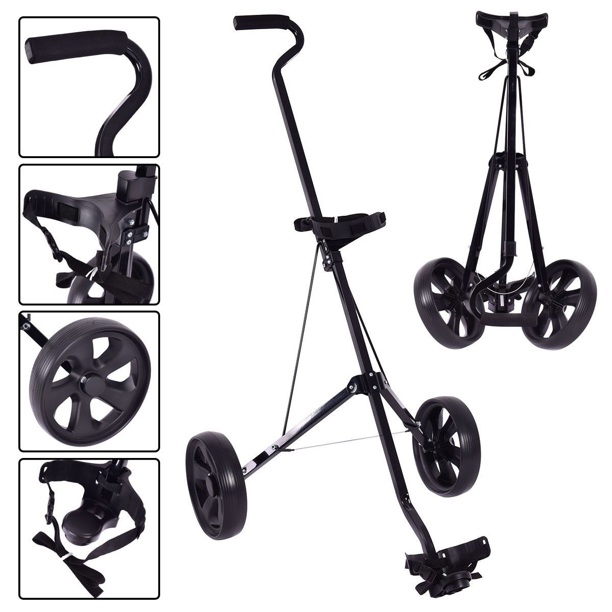 Foldable 2 Wheels Push Pull Golf Club Cart Trolley Golf