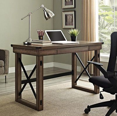 writing desks home office. Industrial Writing Desk Wood Grey Gray Modern Metal Rustic Furniture Home Office Desks