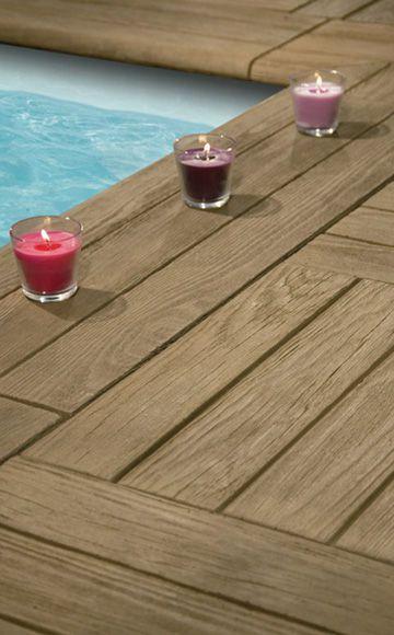 Carrelage aspect caillebottis  un sol idéal autour de la piscine - carrelage terrasse exterieur imitation bois