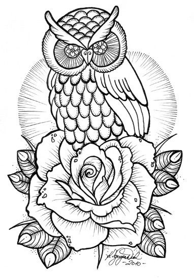 tattoo owl coloring pages - photo#2