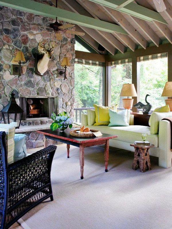 Wohnzimmer Rustikale Möbel Kamin