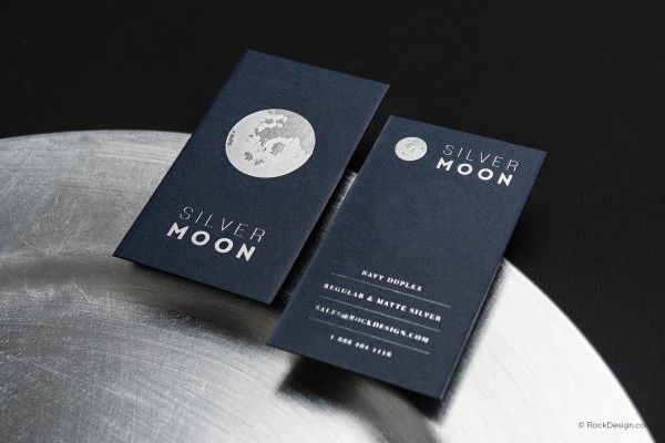 Minimalist Modern Navy Blue Card With Silver Foil Silver Moon Foil Business Cards Printing Business Cards Graphic Design Business Card