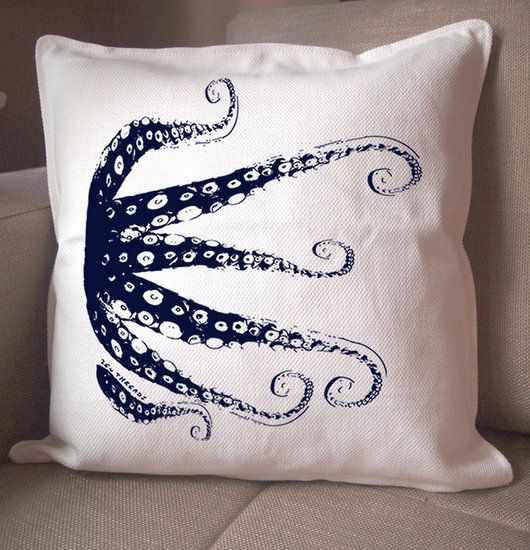 13 Octopus Finds For Your Walls, Tabletop, Sofa, and More: This ThomasPaul Octopus Pillow ($110) is sporting a fierce expression. It comes with a down insert and is silk-screened on unbleached linen.  : We love the minimalist design on this Navy Octopus Pillow ($22), which is printed with eco-friendly inks.