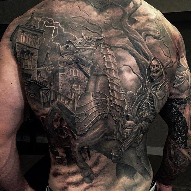 black and grey scary tattoo on full back by greg 640 640 tattoos piercings. Black Bedroom Furniture Sets. Home Design Ideas