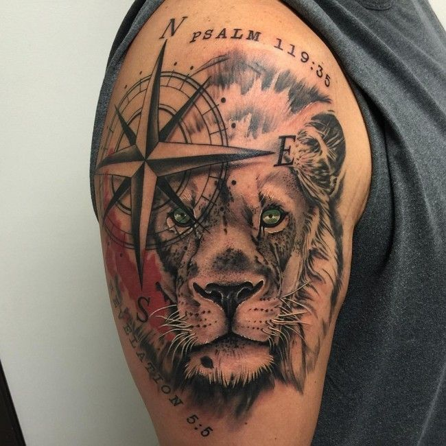 Unusual Combined Colored Lion Head Tattoo On Shoulder With