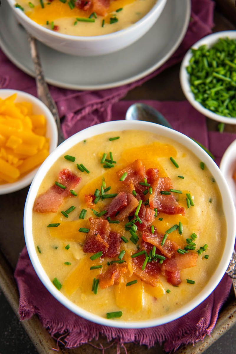 This Is The Best Creamy Potato Soup Recipe It S Loaded With Sour Cream Bacon Cheese And Chi In 2020 Creamy Cheesy Potato Soup Recipe Soup Recipes Potato Soup Recipe