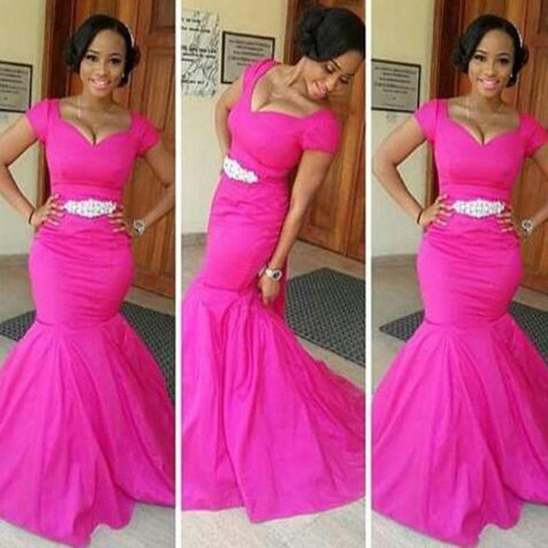 Fuschia Prom Dress,Short Sleeve Mermaid Taffeta Prom Dress   Real ...