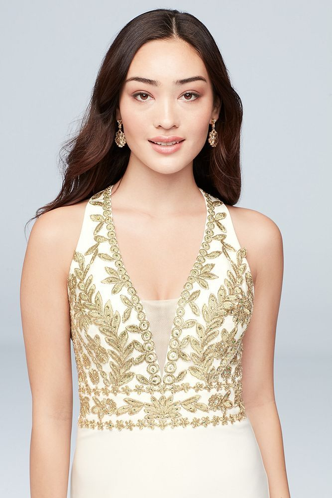 16678410f11d Metallic-Embroidered Open Back Jersey Sheath Dress Style 1178BN, Ivory, 13