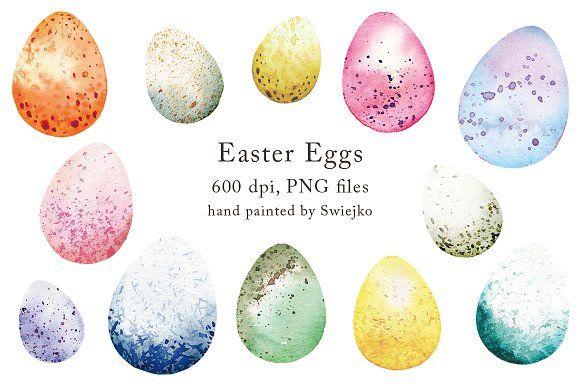 Easter Eggs Clipart Set Easter Drawings Easter Eggs Egg Watercolor