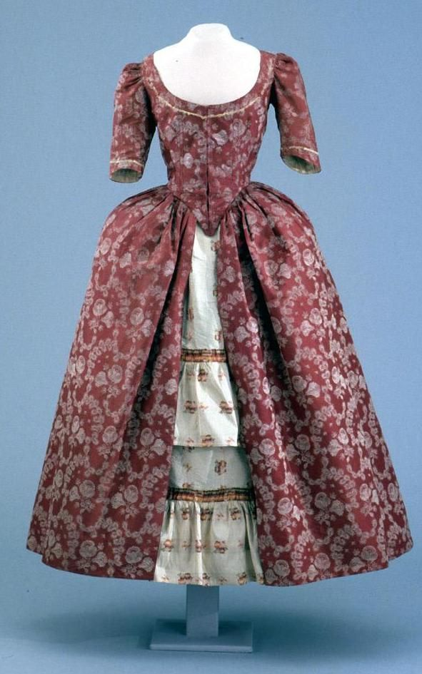 Robe A L Anglaise Ca 1760 1770 Textile Probably Spitalfields Ca 1780 Late 19th Century English Silk Wove 18th Century Fashion 18th Century Clothing 18th Century Costume
