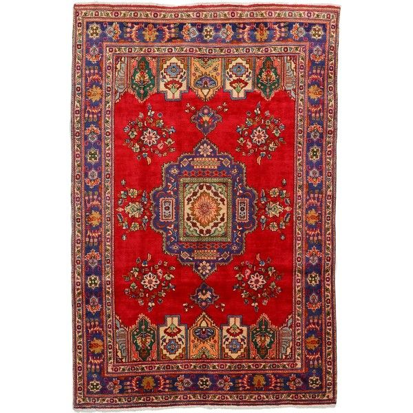 Red 6' 7 x 10' 0 Tabriz Rug | Persian Rugs | eSaleRugs (£2,815) ❤ liked on Polyvore featuring home, rugs, red rug, bright red area rug, bright red rug and red area rugs