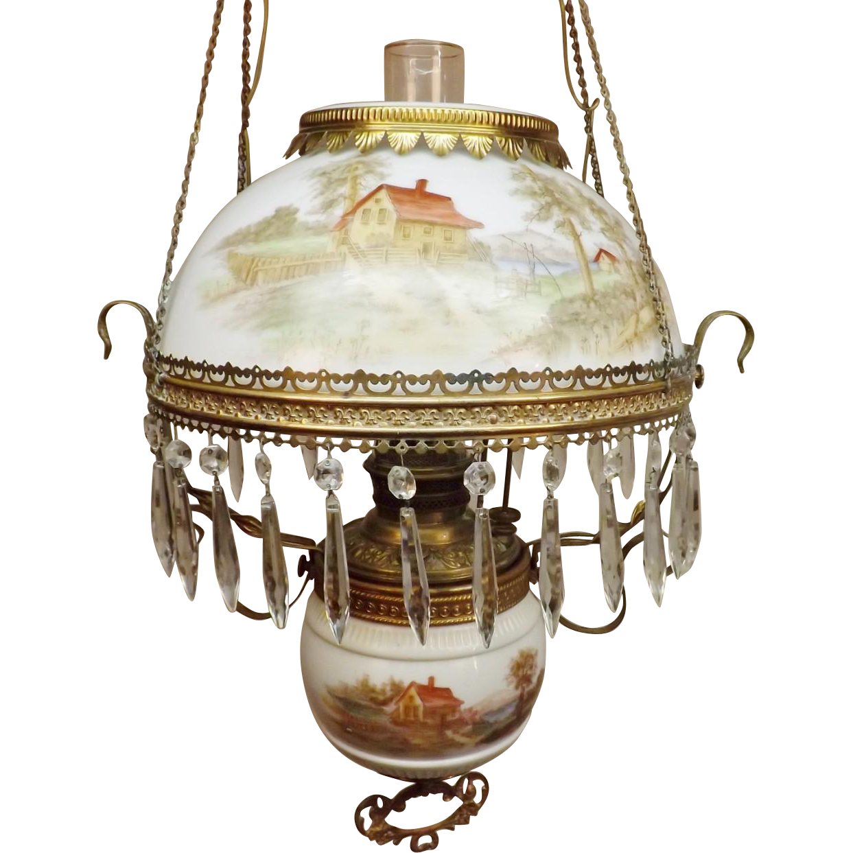 Antique Victorian Larkin Style Library Hanging Oil Lamp