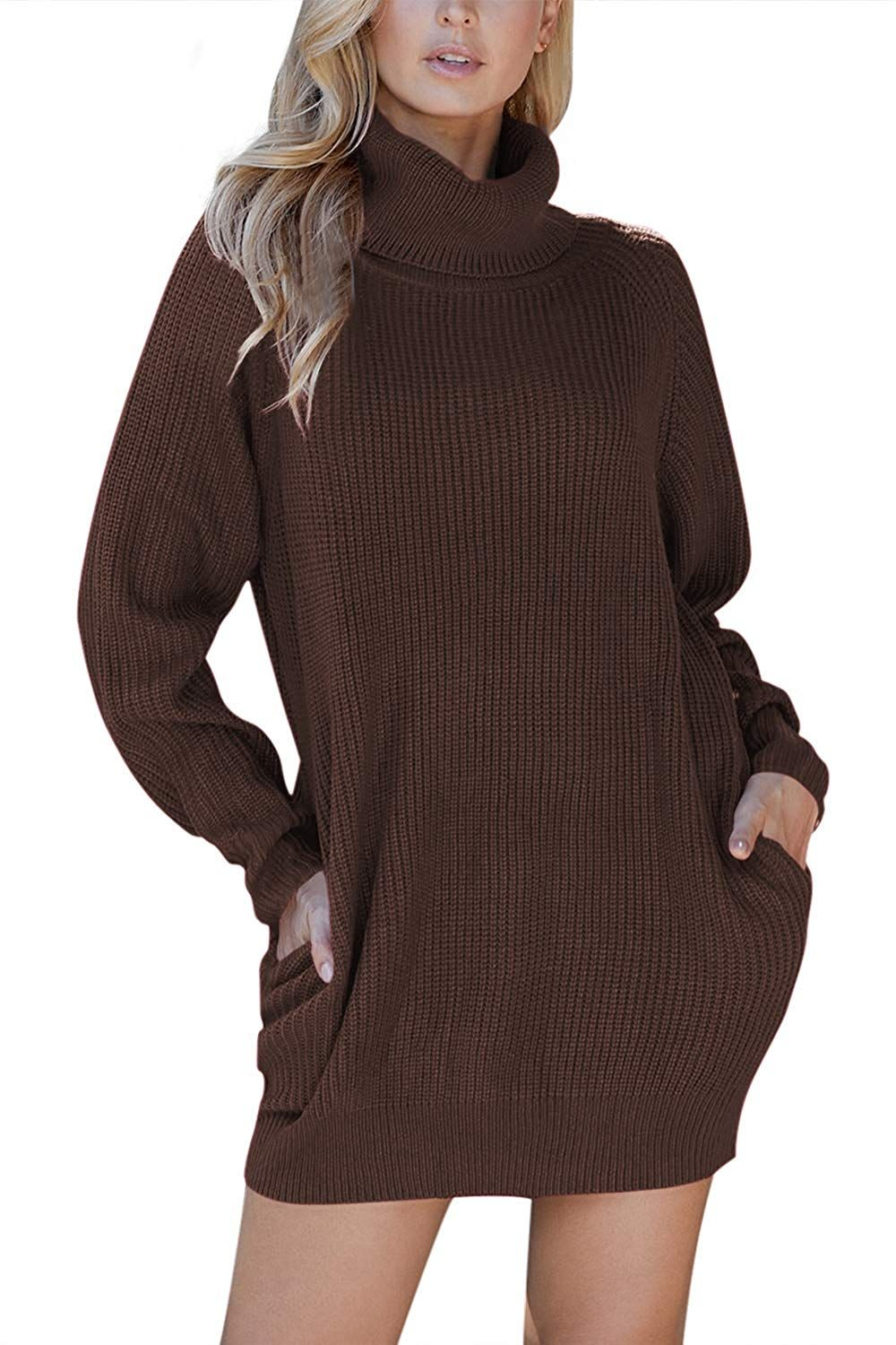 Pink Queen Women's Loose Oversize Turtleneck Wool Long