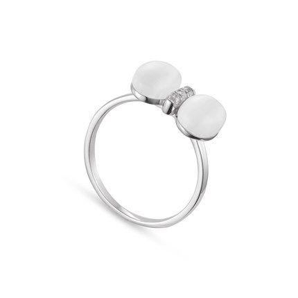 925 Sterling Silver Finger Ring, Micro Pave AAA Zircon Bowknot With Cat's Eye, Silver, 17mm – sweetiee.com