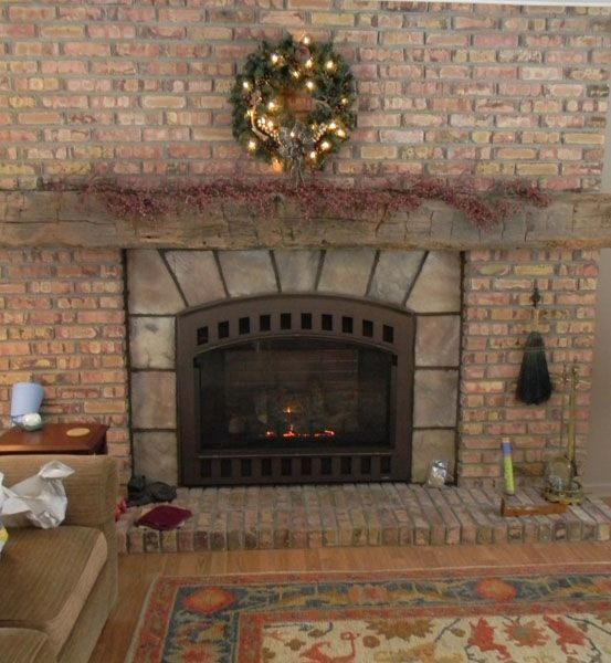 Brick and stone fireplace | Cottage Interiors | Pinterest | Zero clearance  fireplace, Brick hearth