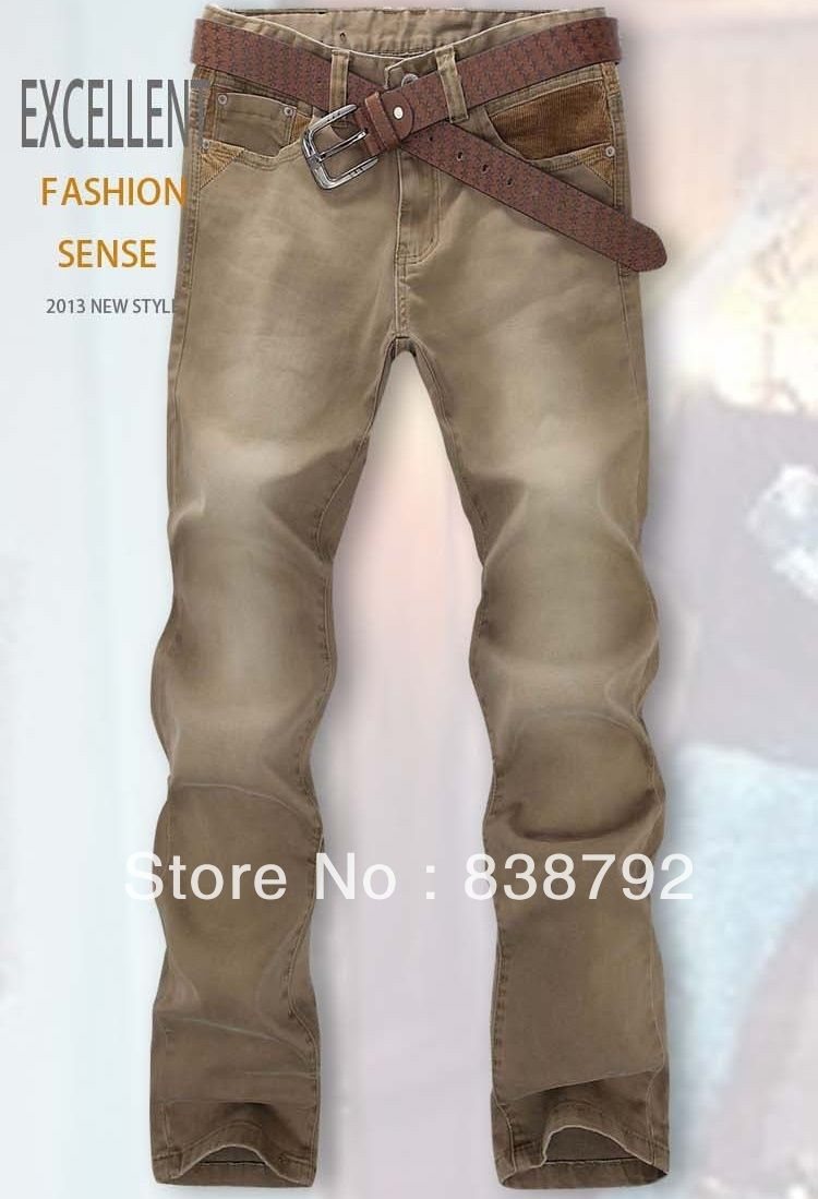 Top Quality,2013 new fashion pants,Men's designer embroidery jeans,Low waist 100% color denim Man's trousers slim straight $40.79