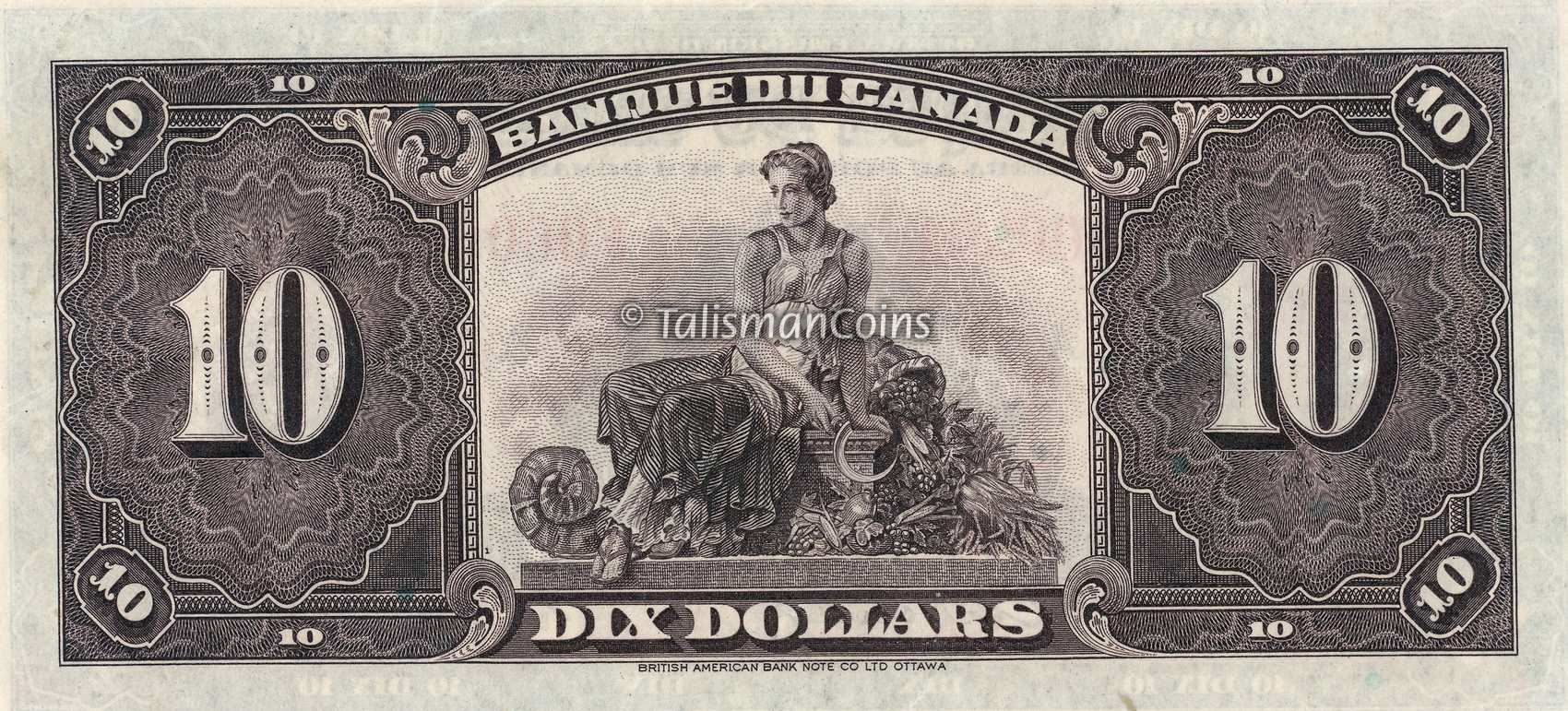 The Back Reverse Of The Historic 1935 Bank Of Canada 10 Ten Dollar Bank Bank Notes Old Money Canadian Money