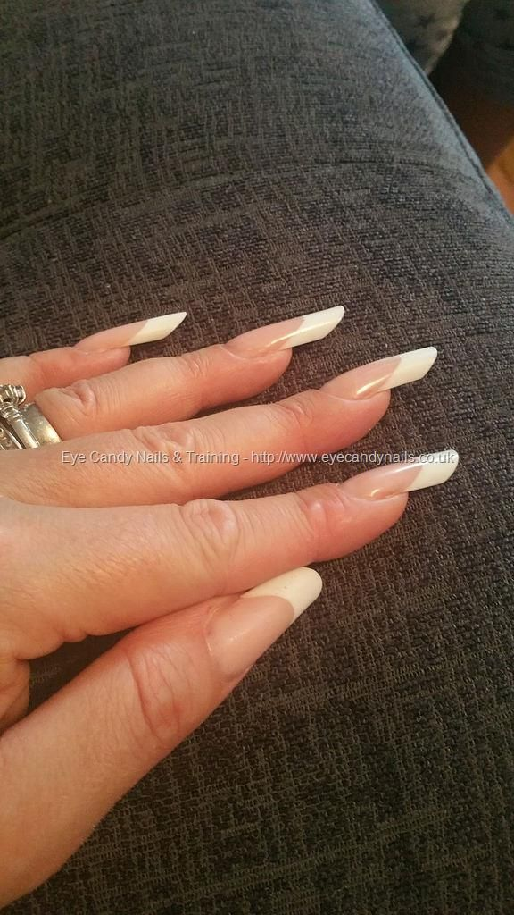 Pink and white french pipe nail shape | Nails | Pinterest ...