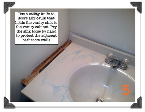 Score caulk that holds the vanity sink to the vanity cabinet