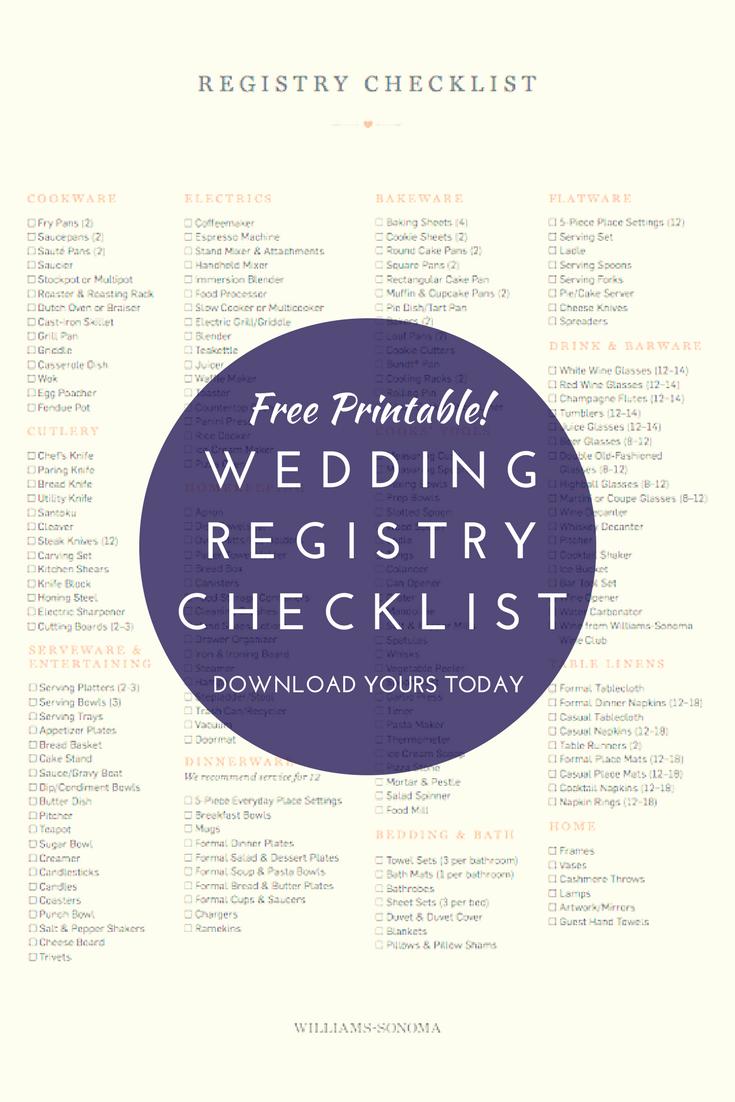 Download Our Wedding Registry Checklist!