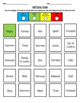 Image result for zones of regulation worksheets   therapy