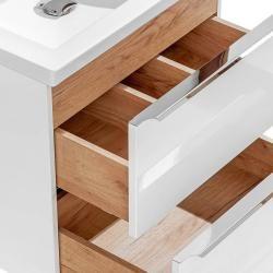 Photo of Badezimmer Set weiß Hochglanz mit Keramik-Doppel-Waschtisch