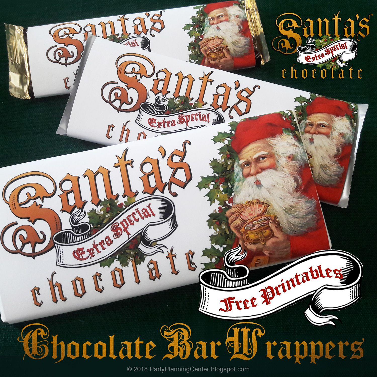 Free Santa Claus Christmas Candy Bar Wrappers | Party Planning Center | Christmas candy bar ...