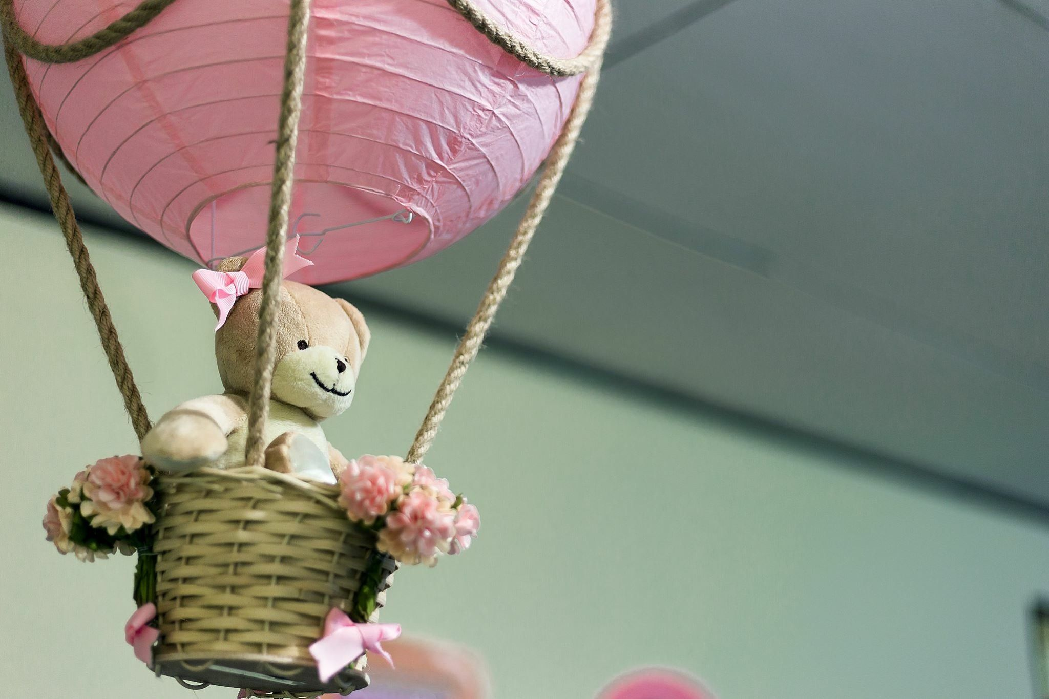 Osito y globo rosa