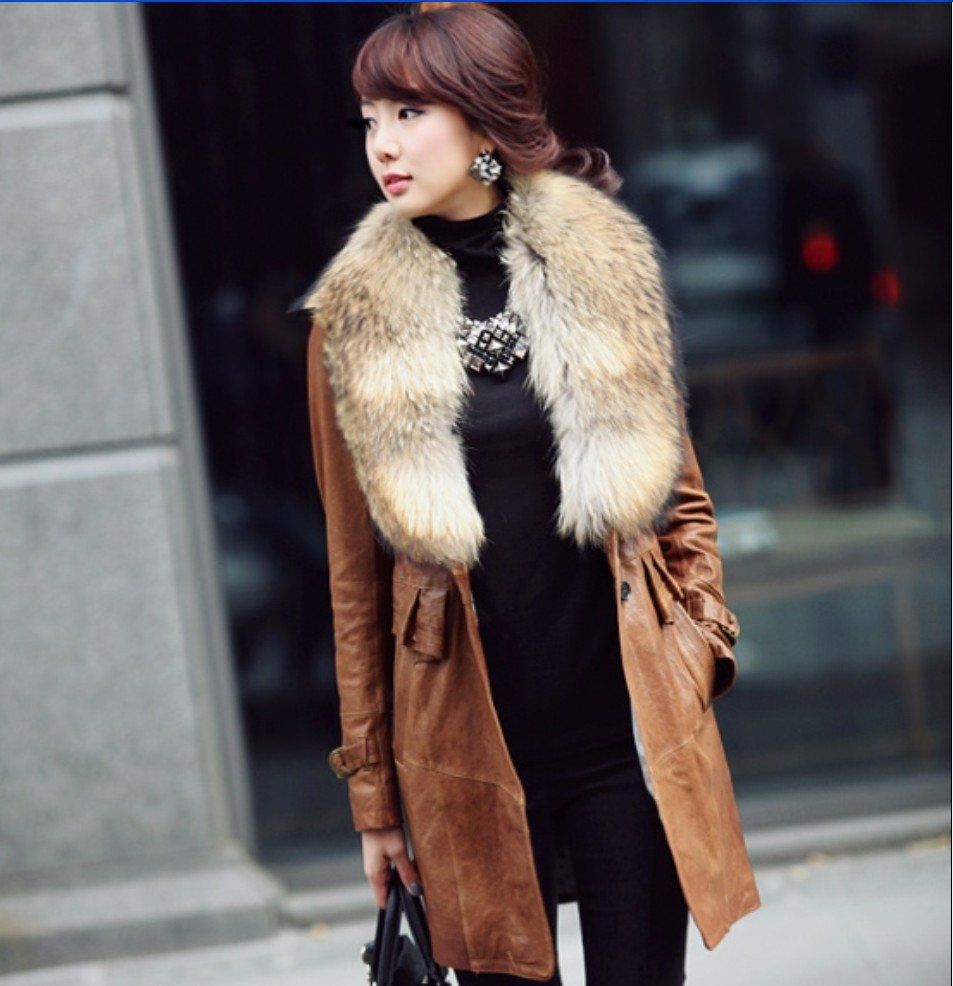 Real-raccoon-fur-collar-winter-water-washed-PU-leather-jacket ...