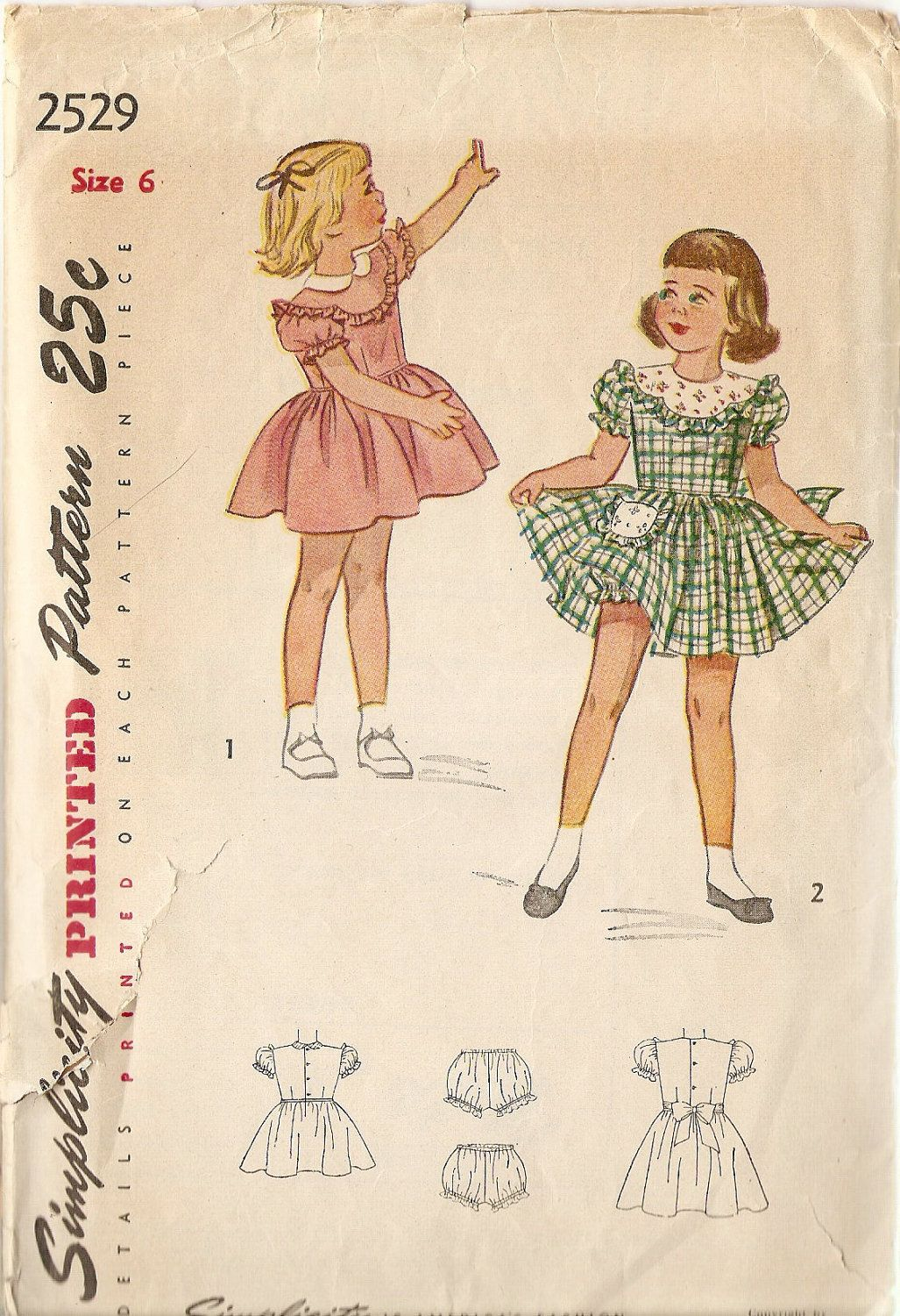1950s Girls Dress Pattern size 6 Party Dress Pattern Simplicity 2529 ...