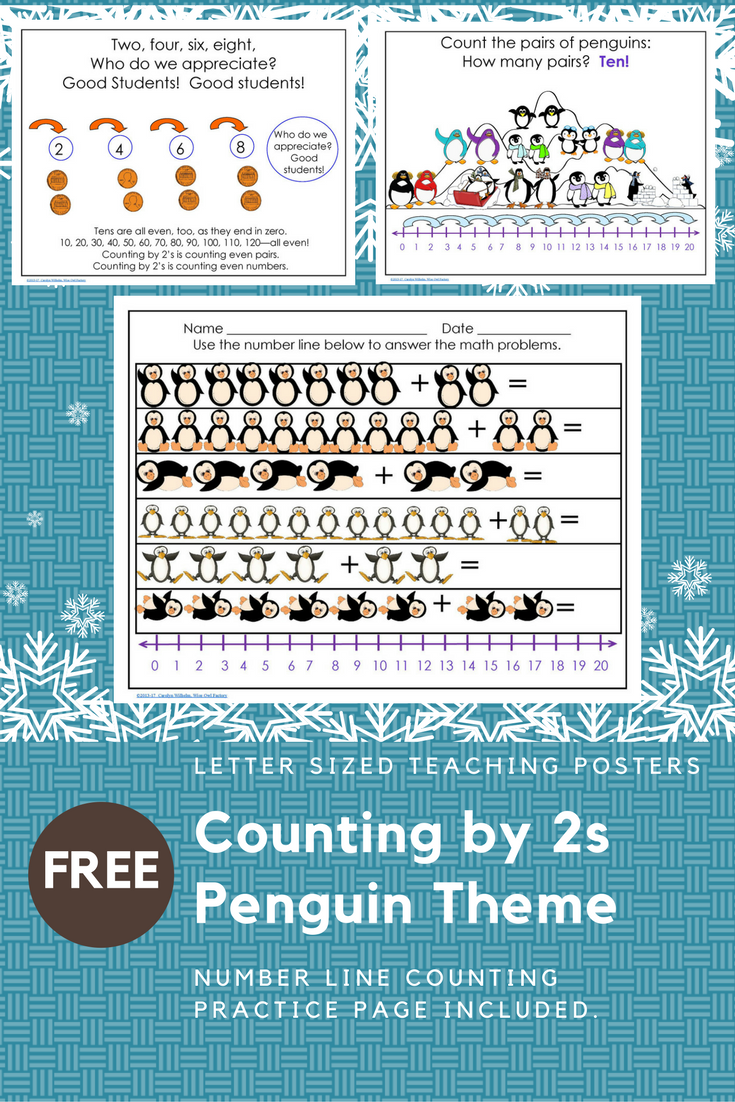 Counting by 2\'s with Penguins Free Math PDF | Free math, Penguins ...