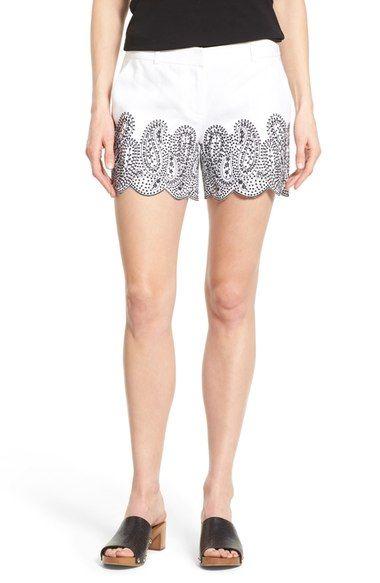 MICHAEL MICHAEL KORS Embroidered Linen Short Shorts. #michaelmichaelkors #cloth #