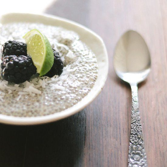 The perfect breakfast. Healthy and delicious. Coconut and lime Chia seed pudding with fresh blackberries.