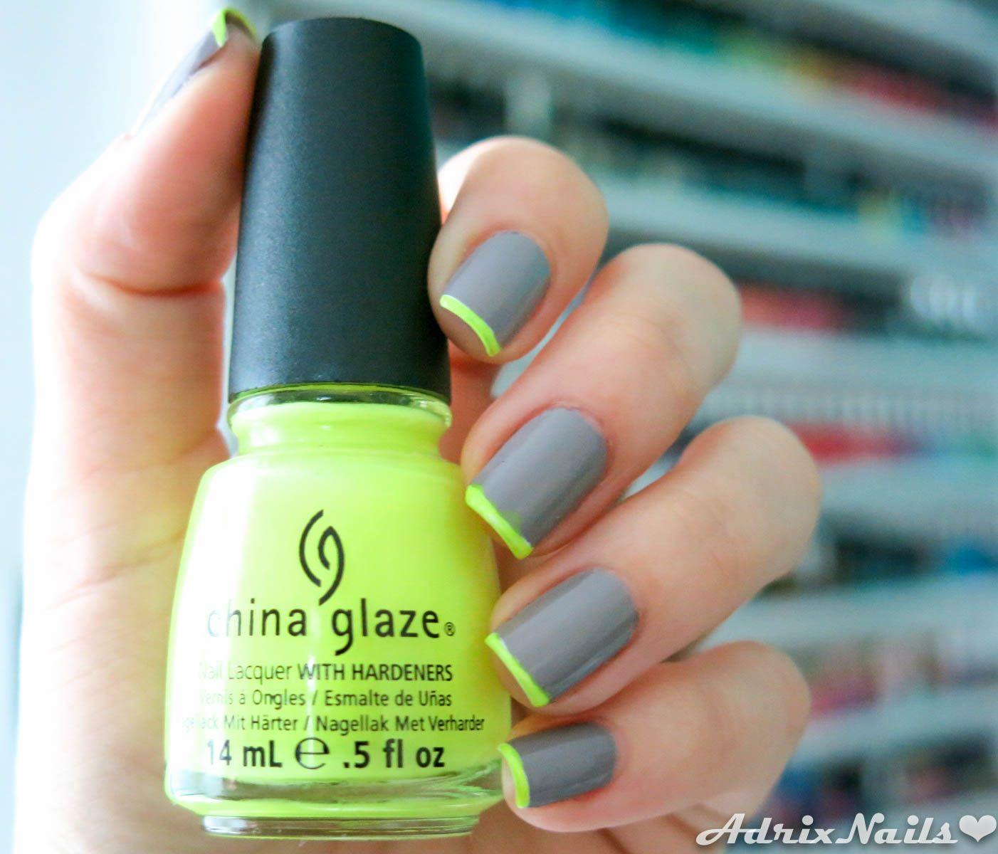 Gris y neón #nails #nailart #neon | Nails | Pinterest | Neón ...