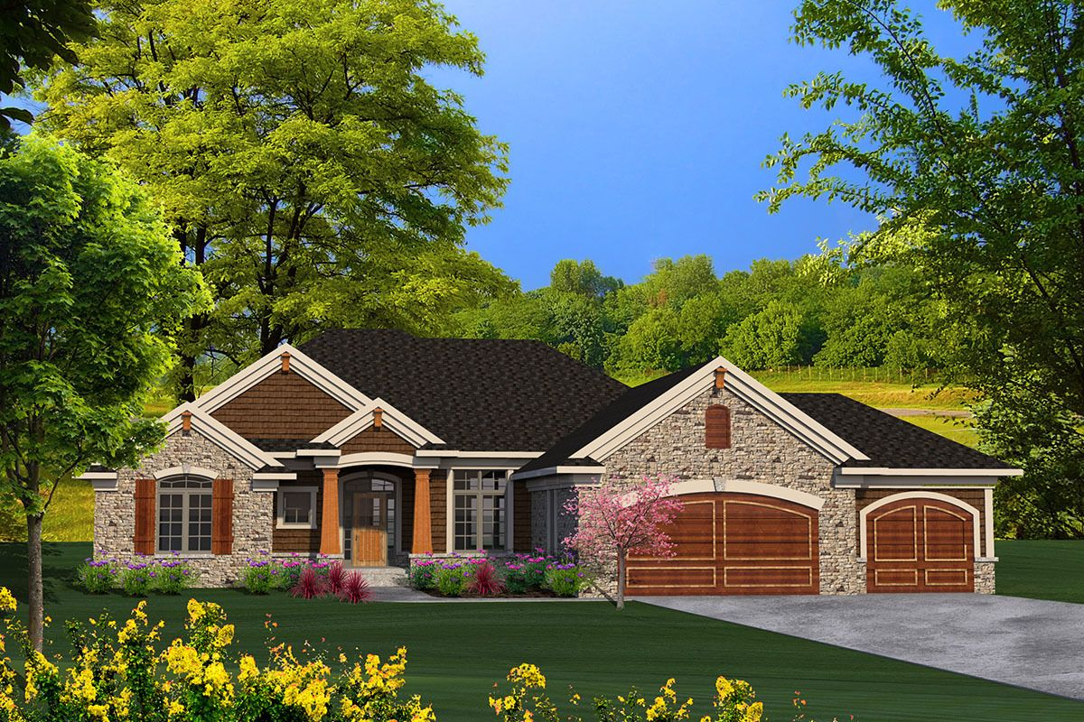 Ranch House Plan with 1796 Square Feet and 3 Bedrooms from