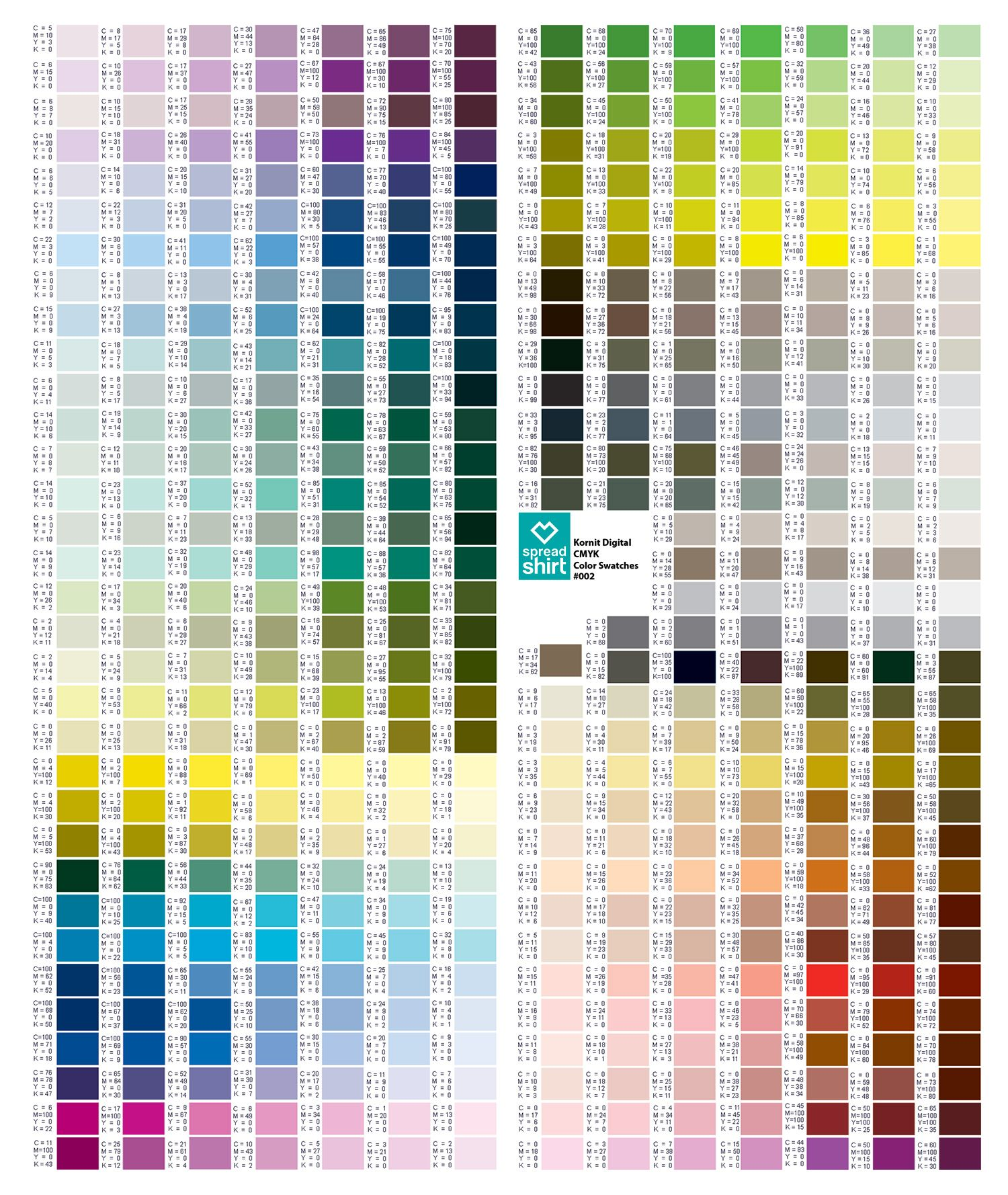 Cmyk Color Chart Sometimes Always Never Pinterest Cmyk Color