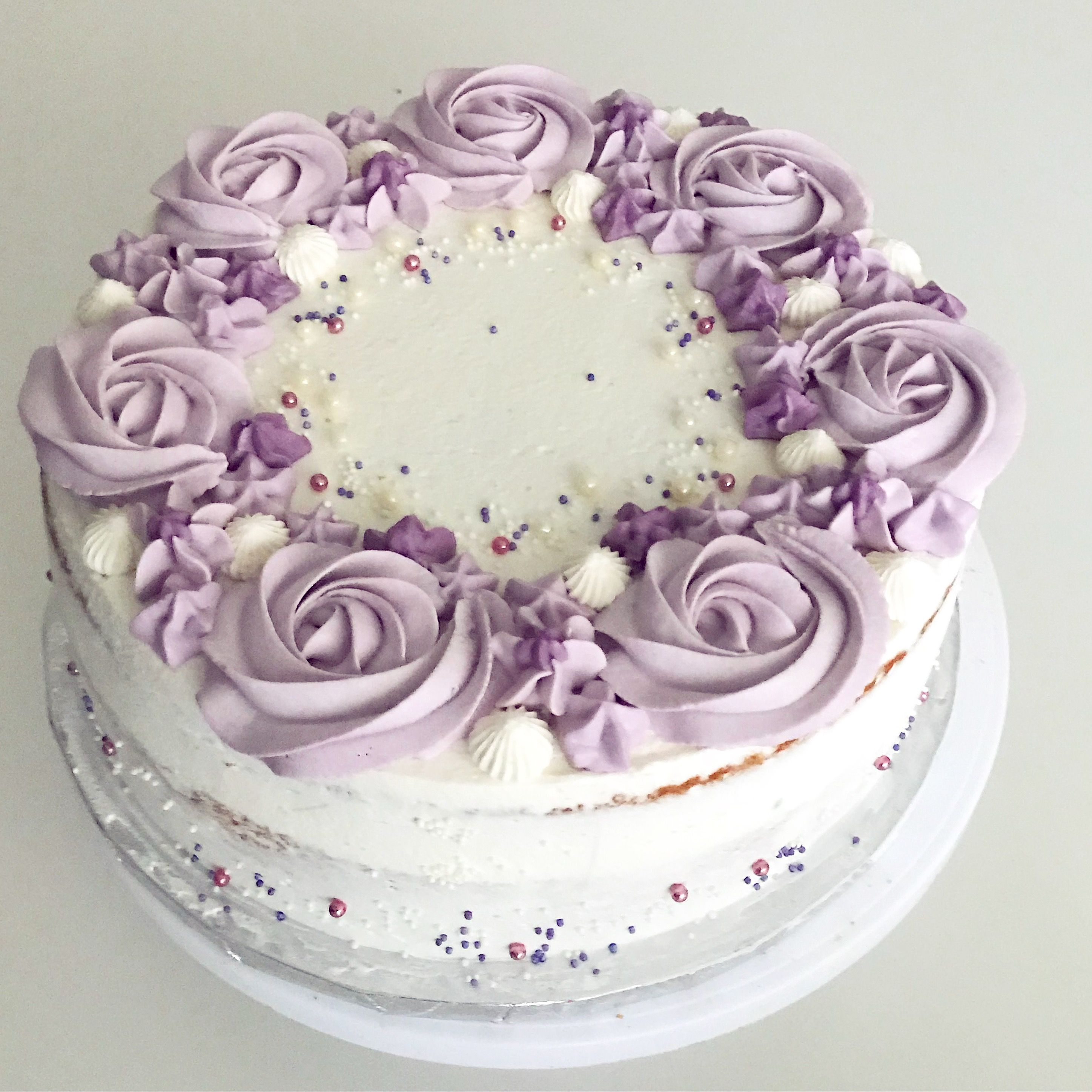 Rose Cream Layer Cake Cake Decorating Purple Flower Purple Cakes Birthday Purple Cakes Cake Decorating Roses