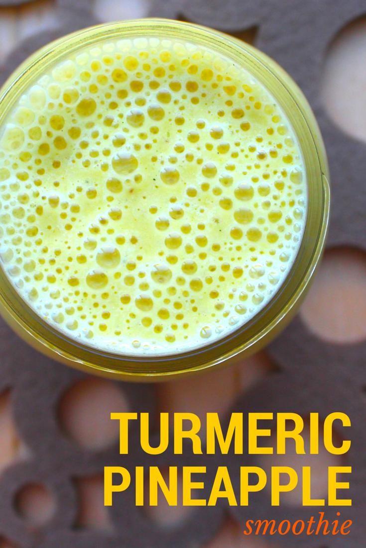 Turmeric Pineapple Smoothie with Basil #Vegan
