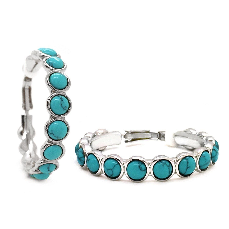d0beb03a5eeae Sparkly Bride Clip On Hoop Earrings Light Blue Resin Rhodium Plated ...