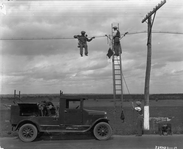 Telephone Line Repairmen at Work Telephone line
