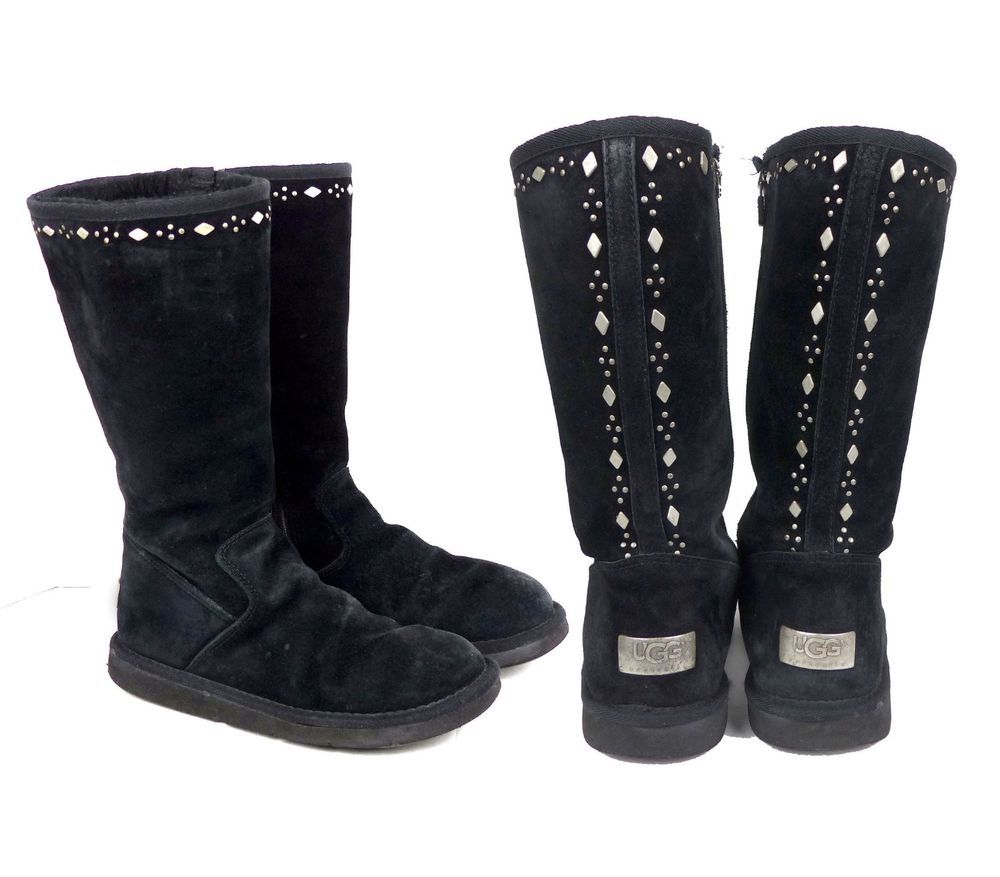 c46ad18066b UGG Joplin Studded Tall Suede Sherling Lined Boots Black Zip Up SN ...