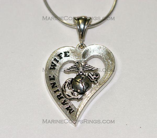 sterling silver marines heart tm marine wife. Black Bedroom Furniture Sets. Home Design Ideas
