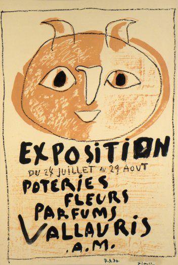 Original Plakate Picasso Original Poster Picasso Affiche original Picasso  Titel Ausstellung Töpferei, Blumen, Parfüm  Technik Original-Lithografie