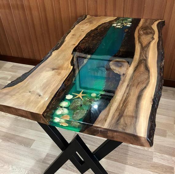 Tisch, Epoxy Tisch Nussbaum Tisch, Harz Tisch, einzigartiger