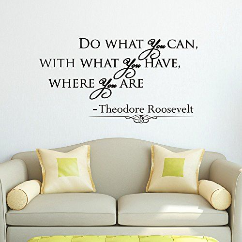 Wall Decal Vinyl Sticker Theodore Roosevelt Quote Do What You Can with What You Have Where You Are Bedroom Decor Sb34 ElegantWallDecals http://www.amazon.com/dp/B00ZNU92IS/ref=cm_sw_r_pi_dp_xrkYvb160GZ3S