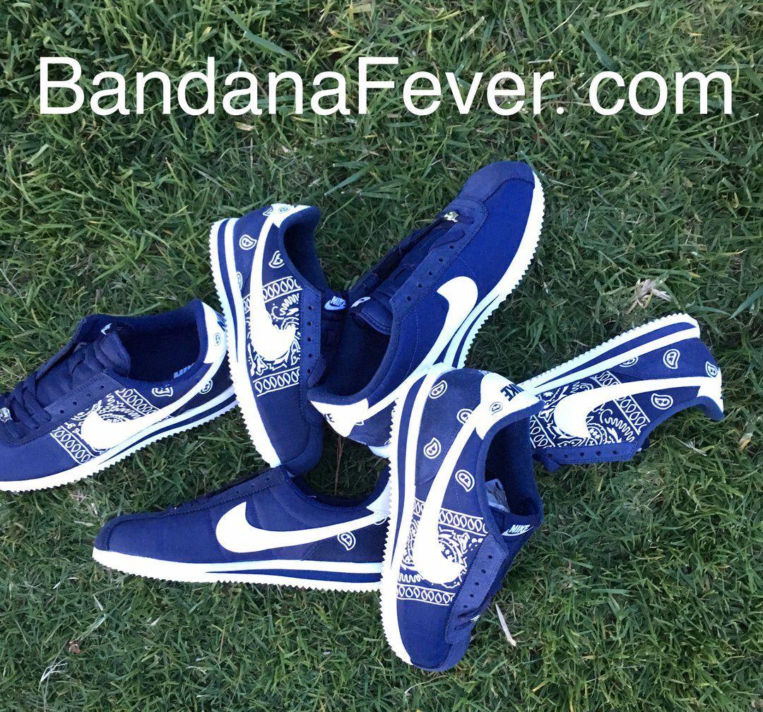 Bandana Fever White Bandana Sides Print Custom Navy/White