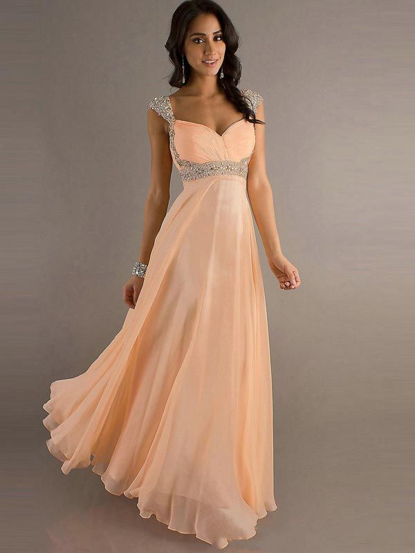 Arrive In 4-8 Days,A-line Straps Chiffon Pearl Pink Long Prom ...