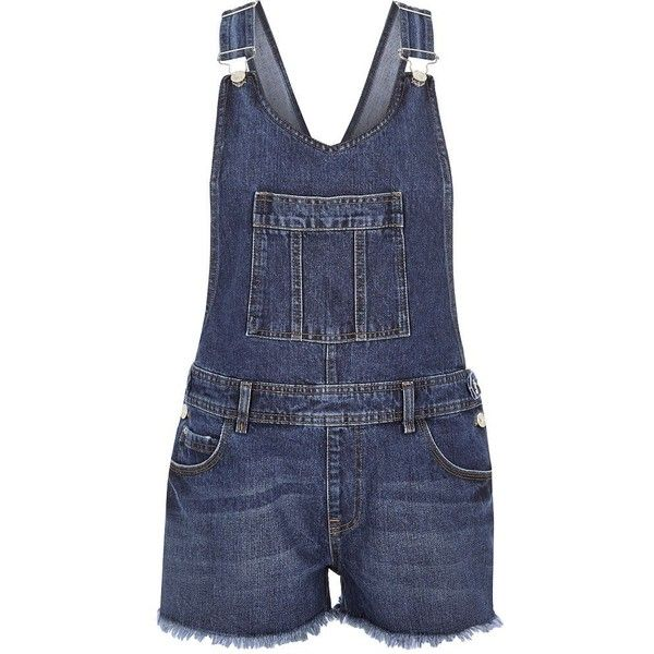 River Island Blue denim frayed hem short overalls (1.150 ARS) ❤ liked on Polyvore featuring jumpsuits, rompers, overalls, shorts, blue, bottoms, dungarees, rompers/ jumpsuits, women and denim short overalls